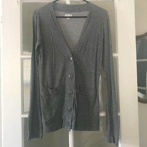 silence & noise • gray long button cardigan